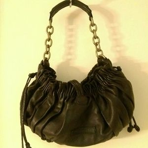 Vintage Black Leather Clam handbag.